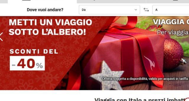 Metti un viaggio sotto l'albero: offerte Italo Treno con sconti fino al 40% e Trenitalia, Natale è servito.