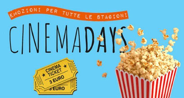 Tornerà a breve dopo una pausa di circa 2 anni, l'iniziativa CinemaDays grazie alla quale si potrà andare al cinema pagando il biglietto soltanto 3 euro.