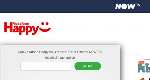 Con Vodafone Happy in regalo 4 mesi di Now Tv: si risparmieranno 9,99 euro al mese.