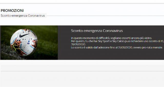 Super sconto per emergenza Coronavirus per chi ha pacchetto Sport e Calcio: ecco come fare.