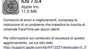 Apple ha reso disponibile il download a iOS 7.0.4, aggiornamento che risolve un bug con FaceTime e che ottimizza alcune prestazioni di sistema. Ma la grande attesa è sempre per iOS 7.1.