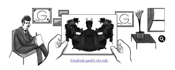 Google ha celebrato con uno dei suoi consueti doodle il 129esimo anniversario della nascita del celebre psichiatrica svizzero Hermann Rorschach, inventore dell'omonimo test sull'interpretazione delle macchie. Voi cosa avete visto?