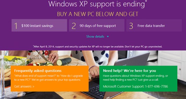 L'8 aprile Windows XP andrà in pensione e Microsoft lancia un'interessante offerta: 100 dollari di sconto a chi acquista un modello equipaggiato con Windows 8 al di sopra dei 599 euro. Scopriamo i dettagli.