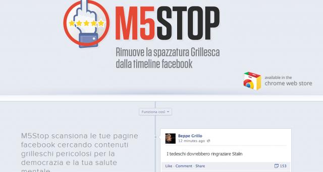 M5Stop è l'estensione per Chrome nata per bloccare i messaggi e i contenuti dei politici e sostenitori del Movimento 5 Stelle, ideale per chi vuole prendere le distanze da una certa propaganda politica.