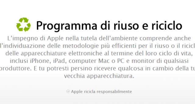 Anche in Italia è disponibile il programma Riuso&Riciclo di Apple: potremo dunque consegnare il nostro iPhone o iPad e usufruire di uno sconto sull'acquisto di un nuovo device. Ecco come funziona.