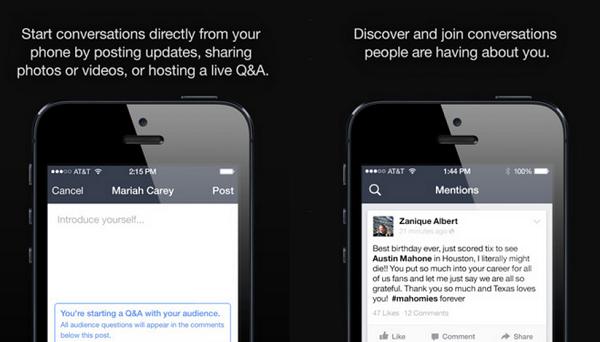 Disponibile sull'App Store Mentions, l'app di Facebook che agevola l'interazione tra celebrità e fan, consentendo ai primi di restare aggiornati su tutto ciò che si dice su di loro e di conversare con i propri appassionati.