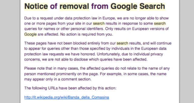 Wikimedia Foundation accusa il diritto all'oblio e la corte europea per la sentenza che sta cancellando l'informazione e rendendo internet una groviera di contenuti. Fa specie in Italia la rimozione di contenuti sulla pagina Wikipedia su Renato Vallanzasca.