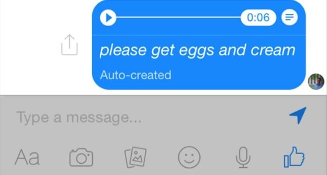 Facebook Messenger apre alla trascrizione dei messaggi vocali per consentire agli utenti di leggere un messaggio lasciato in segreteria quando non può ascoltarlo.