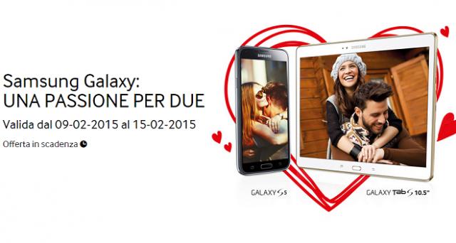 Anche Samsung lancia la sua offerta per San Valentino: acquistando un Galaxy S5 o un Galaxy Tab S 10.5, si avrà diritto a un altro dispositivo acquistabile a metà prezzo.