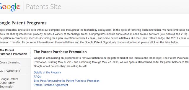 Dall'8 al 22 maggio 2015 Google acquisterà i brevetti degli utenti attraverso un apposito programma denominato Patent Purchase Promotion: può essere la vostra occasione?