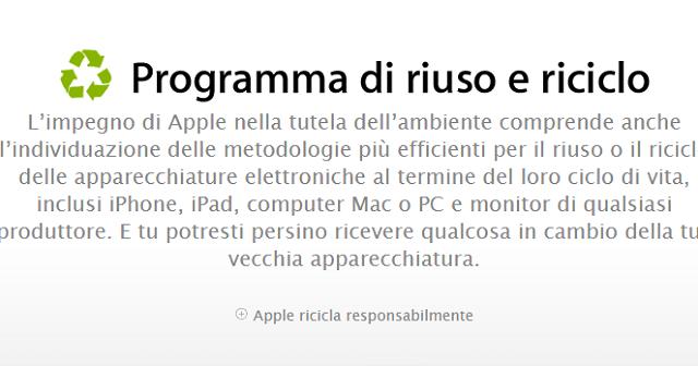 Il programma Riuso e Riciclo di Apple si espande anche agli smartphone Android, Windows Phone e BlackBerry: Apple rottama il vostro vecchio smartphone e vi darà in cambio un buono sconto per l'acquisto di un iPhone.