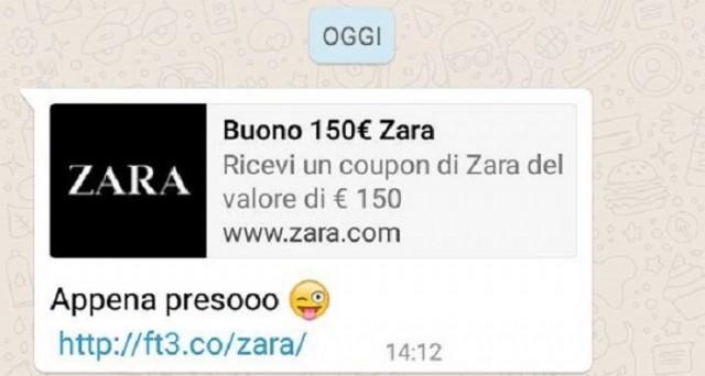 Sul filo di WhatsApp corre una nuova truffa, ma è sempre la solita: stavolta è una falsa Zara a offrire un finto coupon.