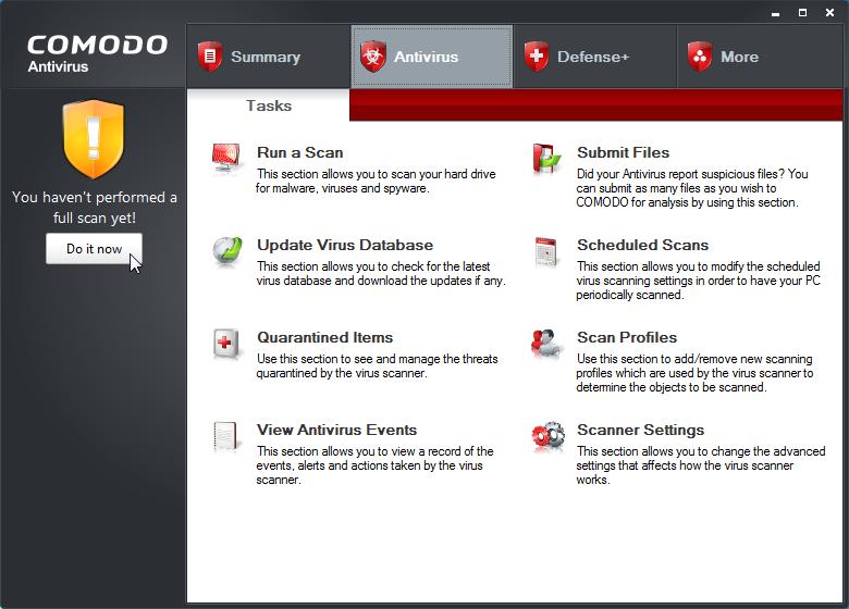 Antivirus gratis per Windows Comodo Free Antivirus