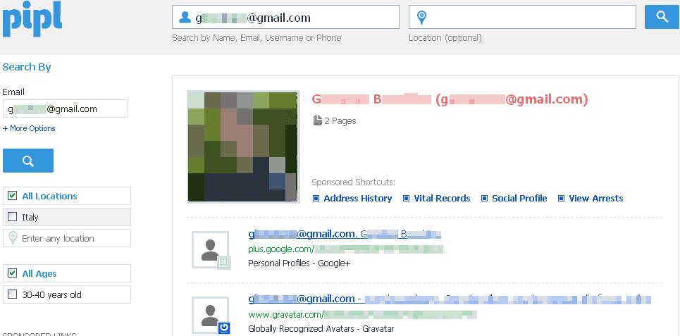 Come cercare e trovare una persona partendo dall'indirizzo email tramite Pipl e Spokeo