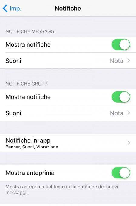 WhatsApp, cambia suoneria iPhone