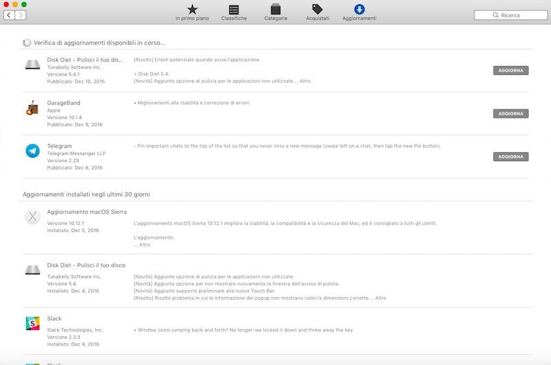 mac app store aggiornamenti