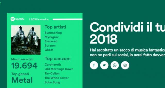 Spotify regala la playlist del tuo 2018, ecco come accedere a tutte le tue statistiche