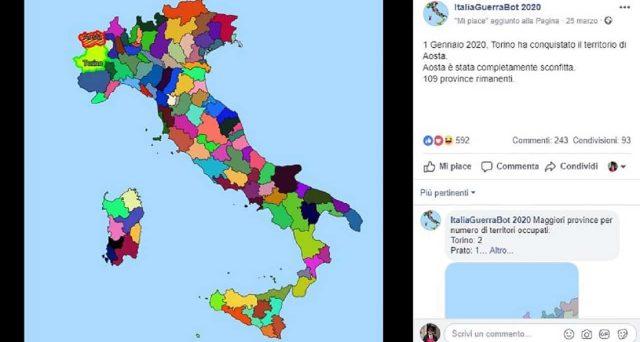 Un nuovo gioco virale su Facebook, ecco ItaliaGuerraBot 2020, il bel paese è in guerra.