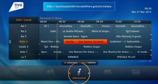 L'elenco completo dei canali satellitari presenti nel pacchetto di Tivùsat.