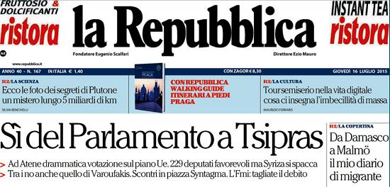 Rassegna stampa cosa dicono i giornali sul s greco alle for Rassegna stampa parlamento