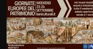 Il 23 ed il 24 settembre si svolgeranno le Giornate Europee del Patrimonio 2017. Sabato vi sarà l'apertura straordinaria dei musei la sera ad 1 euro mentre in entrambi i giorni vi saranno in programma più di mille eventi.