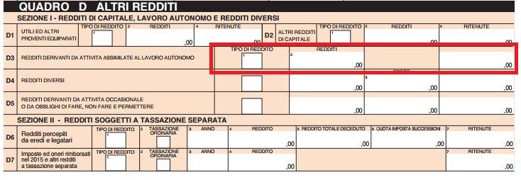Quadro D Modello 730 U2013 Rigo D4 U2013 Redditi Diversi (per I Quali Non è  Prevista Una Detrazione)
